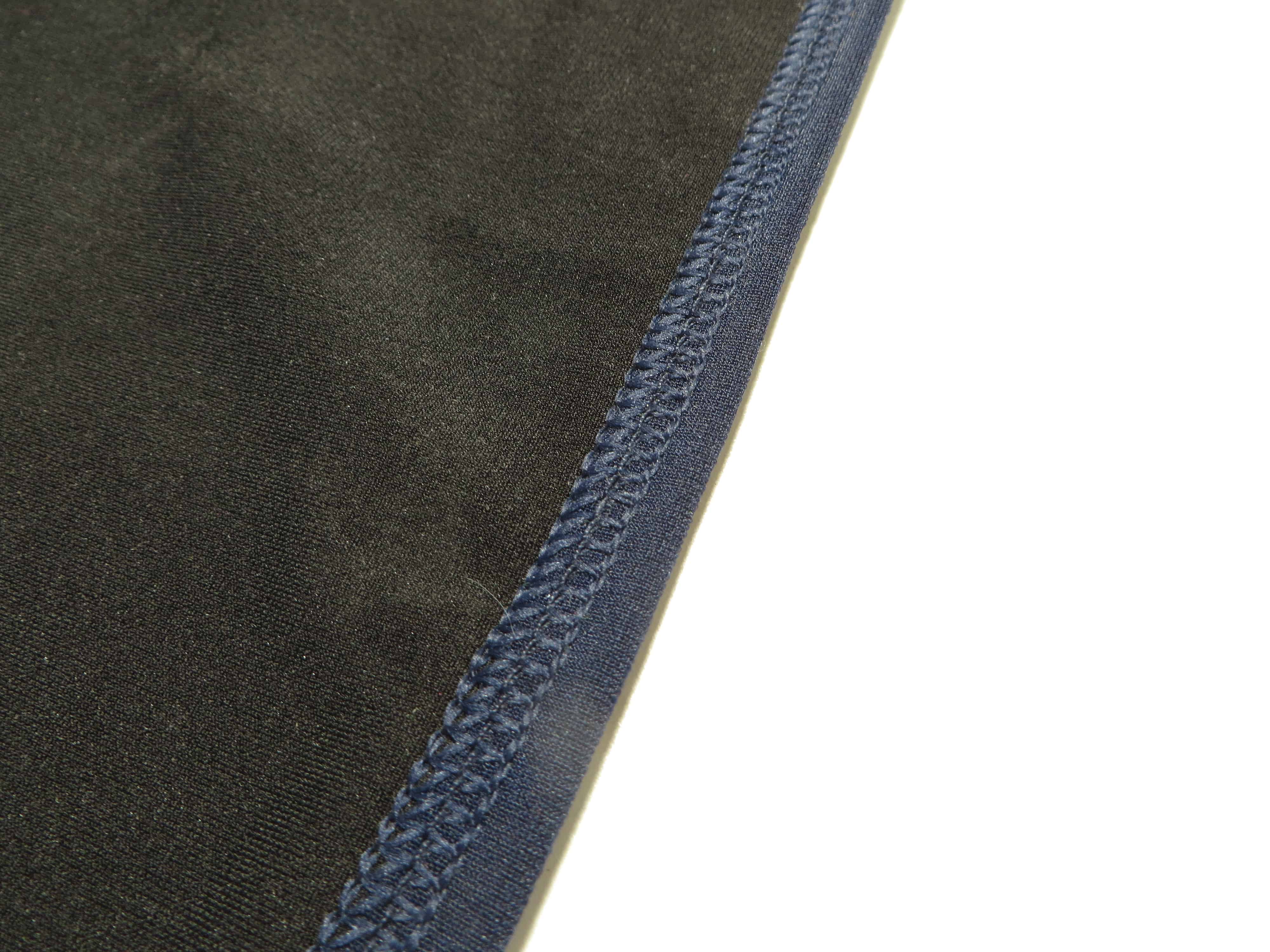 Coverstitch binding with three needles back side